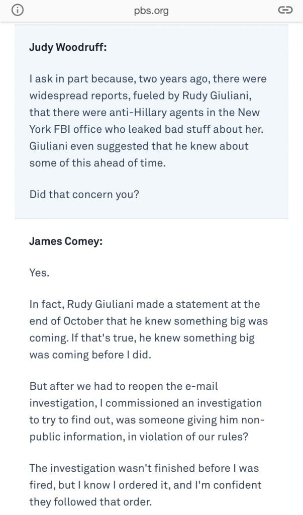 Comey Interview Excerpt