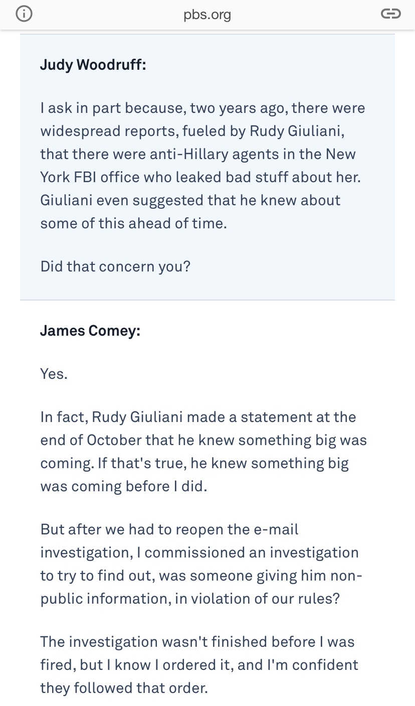 Comey Interview Excerpt
