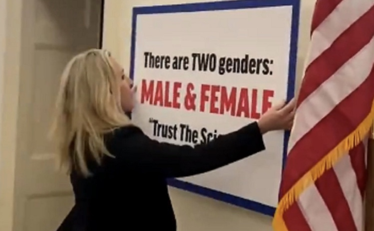 WAR: Rep. Marjorie Taylor Greene Decorates Hall Outside Her Office After Dem Rep. Puts Up Trans Flag (VIDEO)